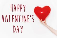 Signe heureux des textes de jour du ` s de valentine concept heureux de valentines H rouge Image stock