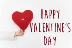 Signe heureux des textes de jour du ` s de valentine concept heureux de valentines H rouge Images stock