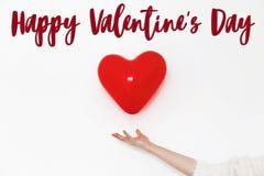 Signe heureux des textes de jour du ` s de valentine concept heureux de valentines H rouge Photographie stock libre de droits