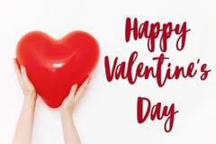Signe heureux des textes de jour du ` s de valentine concept heureux de valentines H rouge Photographie stock