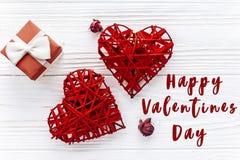 Signe heureux des textes de jour de valentines coeurs et roses et GIF élégants Photographie stock libre de droits