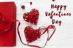 Signe heureux des textes de Saint Valentin Concept de Saint Valentin élégant pré Photo libre de droits