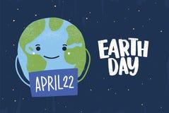 Signe heureux drôle mignon de participation de planète avec la date du 22 avril Insecte de jour de terre, affiche, carte de voeux illustration de vecteur
