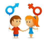 Signe hommes-femmes avec la fille et le garçon Images libres de droits