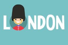 Signe illustré conceptuel de Londres : hallebardier de sourire portant l'ONU illustration stock