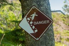 Signe instable de falaise Photo stock