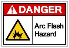 Signe instantan? de symbole de risque d'arc de danger, illustration de vecteur, isolat sur le label blanc de fond EPS10 illustration libre de droits