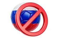Signe interdit avec du ballon de football russe, concept de boycott 3d ren illustration libre de droits