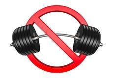 Signe interdit avec le barbell ou l'haltère Le bodybuilding, le GYMNASE et l'haltérophilie est interdit sur le fond blanc Photo libre de droits