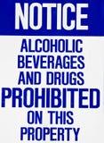 signe interdit par drogues de boissons alcooliques Photos libres de droits
