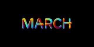 signe iridescent de mois de mars du gradient 3d illustration de vecteur