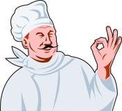 Signe italien d'ok de cuisinier de chef Image libre de droits
