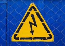 Signe jaune à haute tension Image stock