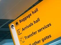 Signe jaune d'aéroport Image libre de droits