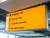 Signe jaune d'aéroport Photographie stock libre de droits