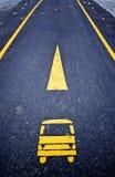 Signe jaune d'autobus Images libres de droits
