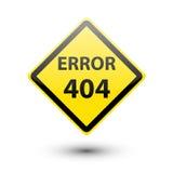 Signe jaune de l'ERREUR 404 Photo libre de droits