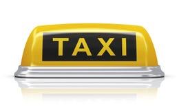 Signe jaune de voiture de taxi Image libre de droits
