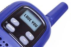 Signe je t'aime sur l'émetteur radioélectrique portatif Photographie stock