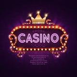 Signe léger de casino de Vegas rétro pour l'illustration de vecteur de fond de jeu illustration stock
