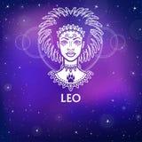 Signe Lion de zodiaque Princesse fantastique, portrait d'animation Dessin blanc, fond - le ciel stellaire de nuit Image stock