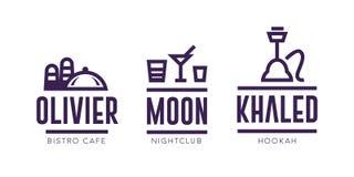 Signe Logo Design de couverture de menu de restaurant ou de barre illustration stock