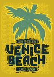 Signe Logo Hand Drawn Lettering de label de palmier de Venice Beach Los Angeles la Californie pour le T-shirt ou l'affiche d'auto illustration stock