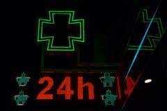 Signe lumineux de pharmacie Photos libres de droits