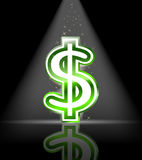 Signe lustré vert du dollar Photo libre de droits