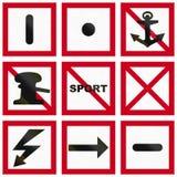 Signe maritime de fairway de la Suède - danger général illustration stock