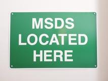 Signe matériel d'emplacement de la fiche technique de sécurité MSDS images stock