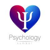 Signe moderne de coeur de la psychologie Lettre livre par pouce carré Type créateur Dans le vecteur Concept de construction Coule illustration stock