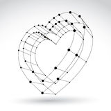 signe monochrome de coeur d'amour de Web élégant de la maille 3d Photo libre de droits