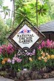 Signe national de jardin d'orchidée de Singapour Images stock