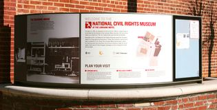 Signe national de musée de droits civiques, Memphis Tennessee Photographie stock libre de droits
