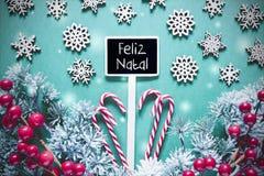 Signe noir de Noël, lumières, Feliz Natal Means Merry Christmas photographie stock libre de droits
