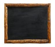 Signe noir de tableau avec le cadre en bois de frontière de rondin photographie stock