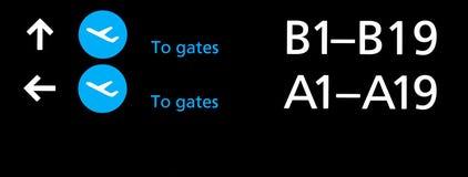 Signe noir de terminal d'aéroport avec des symboles bleus Image stock