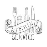Signe noir et blanc tiré par la main du meilleur service de restauration avec la fourchette, le couteau, la bouteille de vin et l Photographie stock