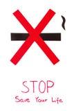Signe non-fumeurs rouge, économies de tabac d'arrêt votre vie Photo libre de droits