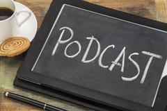 Signe numérique de comprimé de Podcast avec du café Photos libres de droits