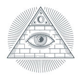 Signe occulte mystique avec l'illustration de vecteur de symbole d'oeil de franc-maçonnerie illustration stock