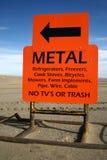 Signe orange de camelote en métal Image stock