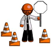 Signe orange de docteur Scientist Man Holding Stop par les cônes U du trafic Illustration Stock