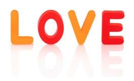 Signe orange et rouge d'amour d'isolement sur le fond blanc avec la réflexion d'ombre images stock