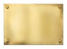 Signe ou nameboard vide d'or ou en métal de laiton Image libre de droits