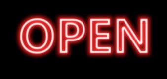 Signe ouvert de rouge au néon Photo stock