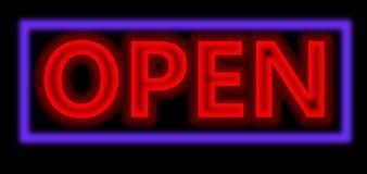 Signe ouvert de rouge au néon Image libre de droits