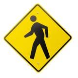 Signe piétonnier jaune d'isolement d'avertissement ou de sécurité Photographie stock libre de droits