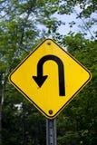 Signe pointu de virage à gauche Photos libres de droits